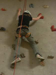 PE Rock Wall Girl
