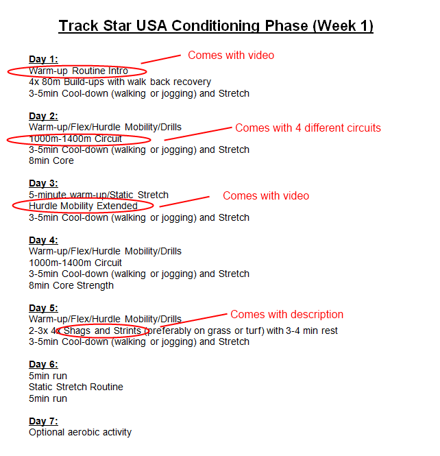 Conditioning Phase Week 1 Screen Shot