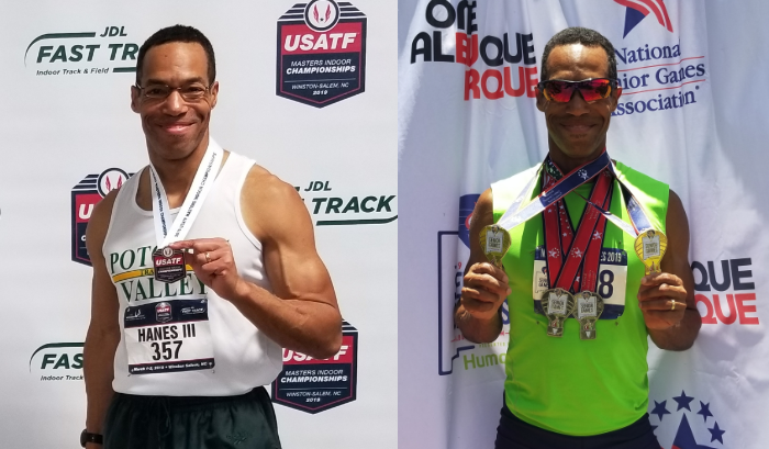 Norris Hanes 2019 USATF Masters Indoor M50 60m Bronze Medalist and 2019 Senior Games Gold and Silver Medalist